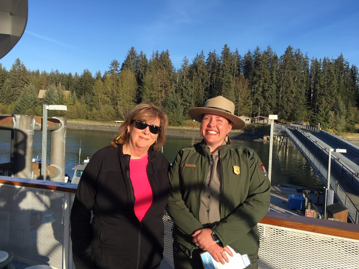 Judi with Ranger Caitie before she departed in Bartlett Cove
