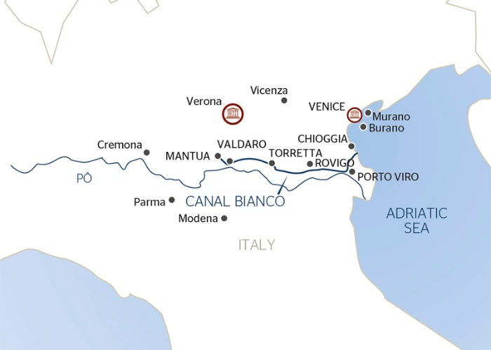 A map of the new 7-night Italy itinerary.