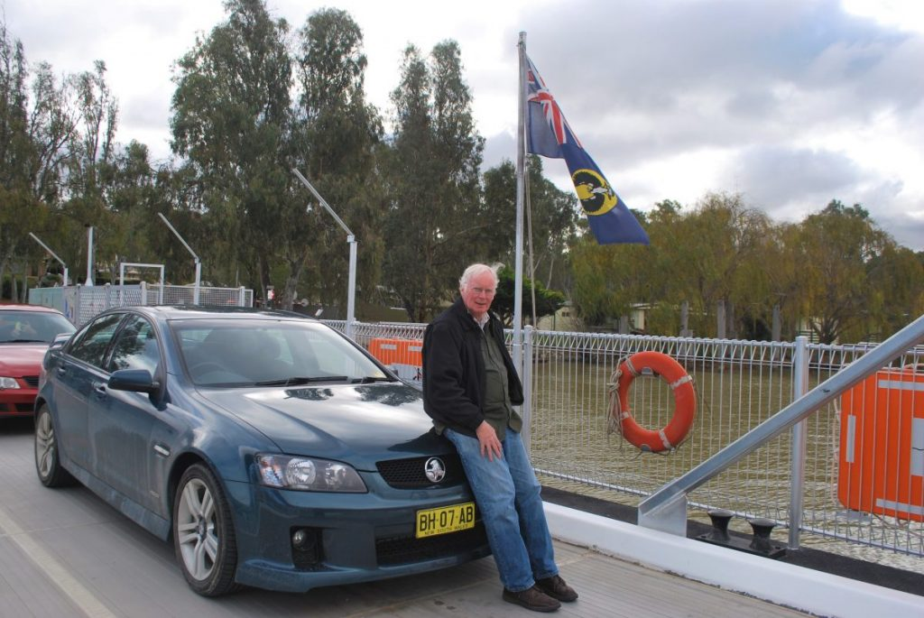 Ted Scull on a ferry crossing the Murray River.