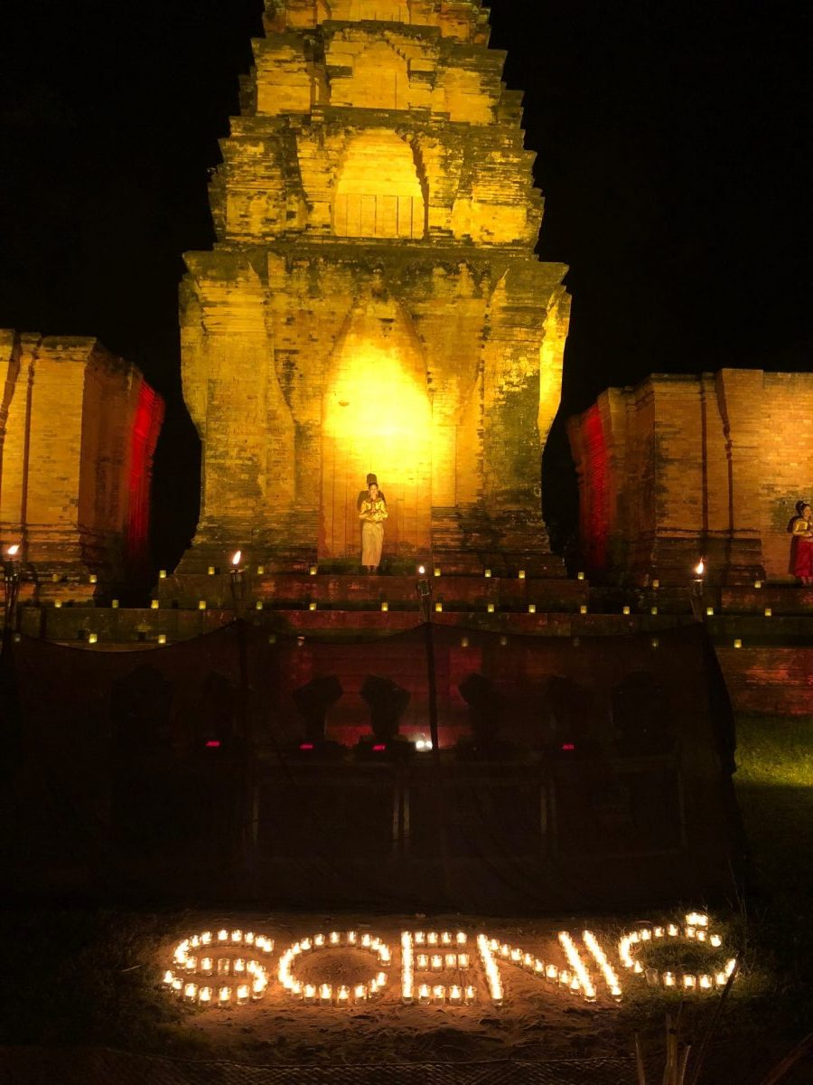 Scenic name in candles at an Apsara performance