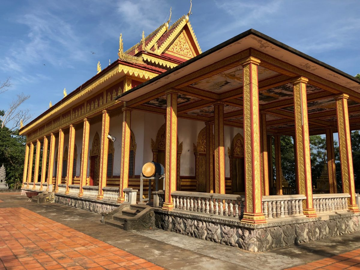 A gilded pagoda on a Mekong River Cruise