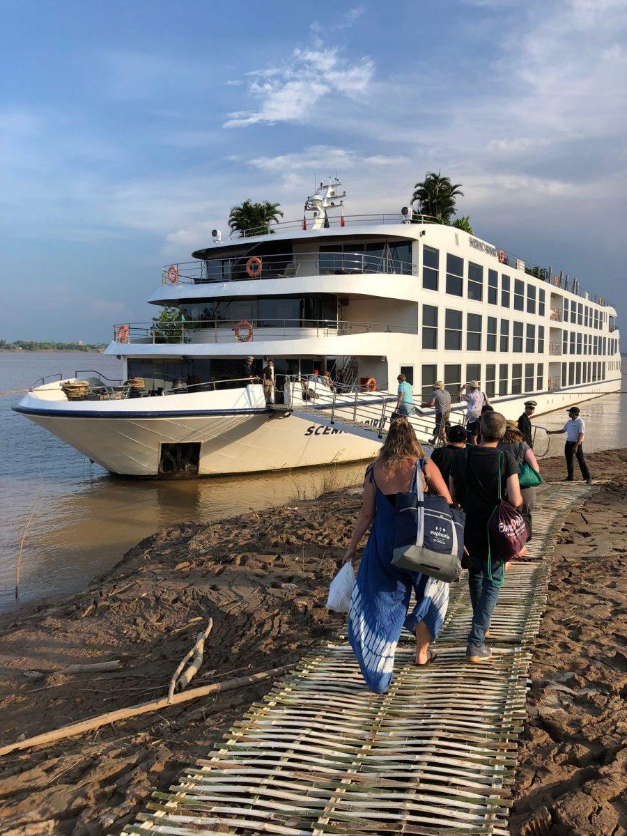The scenic spirit docked along the Mekong RIver