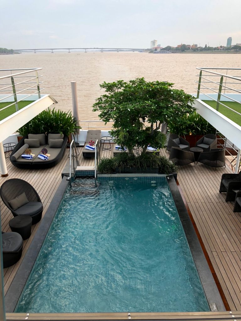 Scenic Spirit's outdoor pool with Mekong views