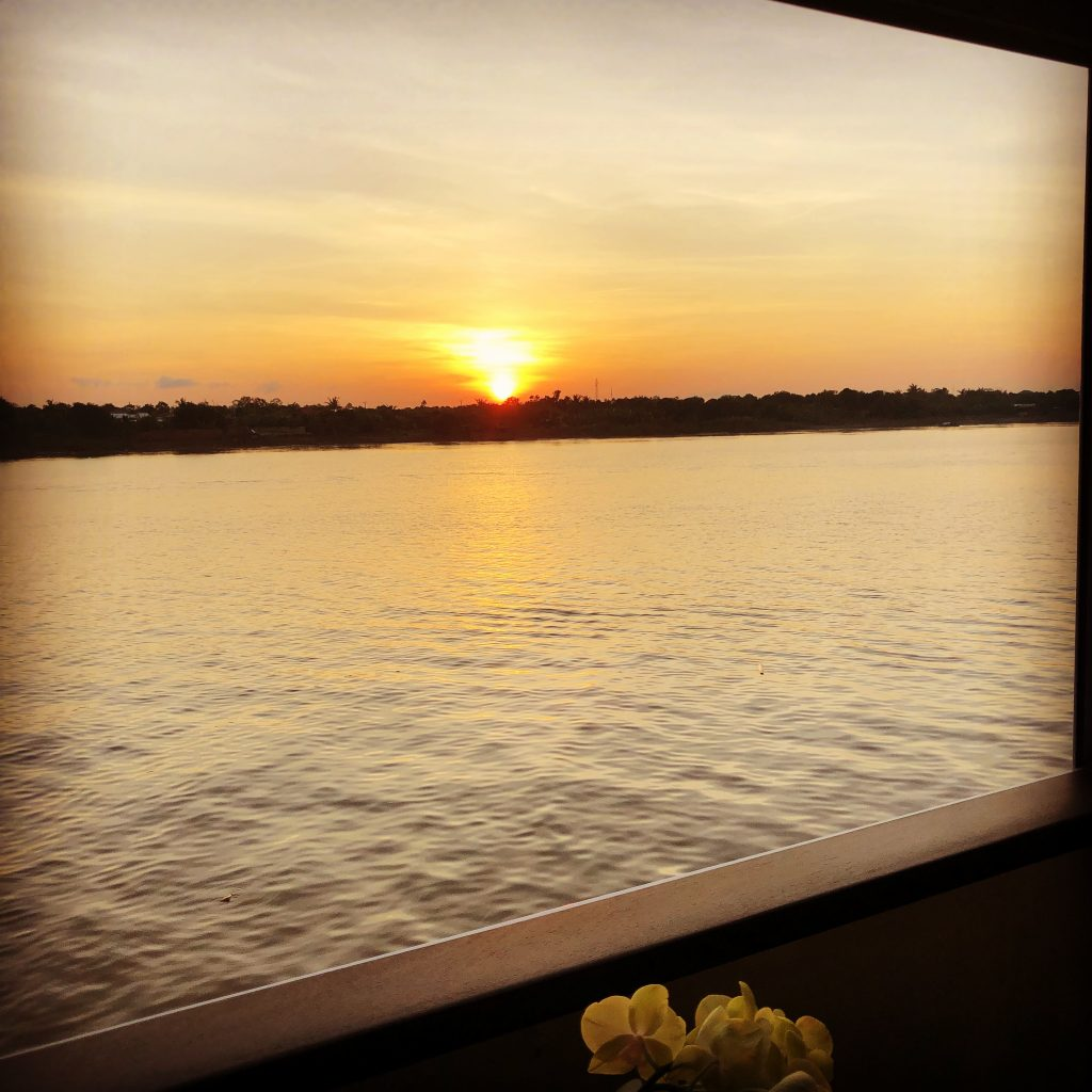 Great views of a sunset over the Mekong River.