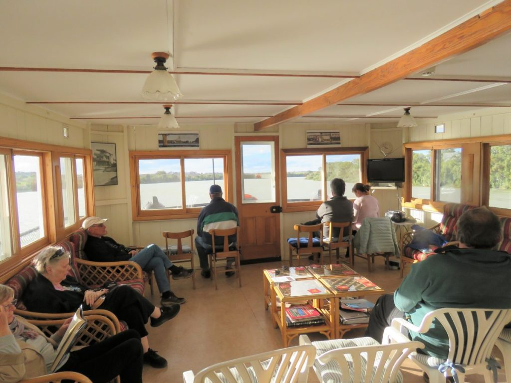 The lounge aboard the Murray River Steamboat Cruise vessel Marion.