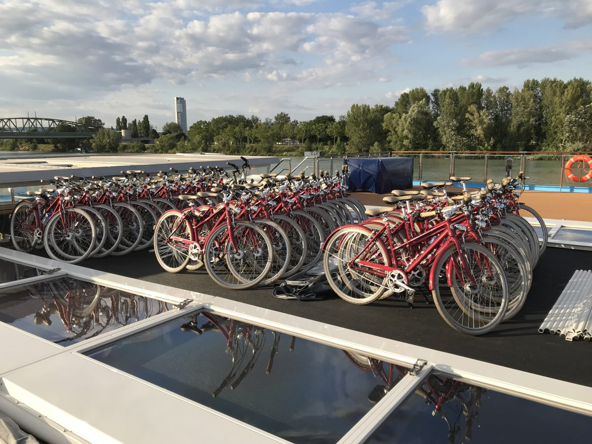 Fleet of bikes aboard the Ama Magna