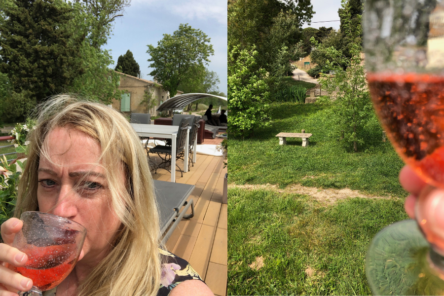 Drinking French Rose - Canal du Midi luxury barge cruise