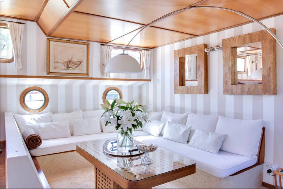 Elegant lounge aboard French Barge Esperance