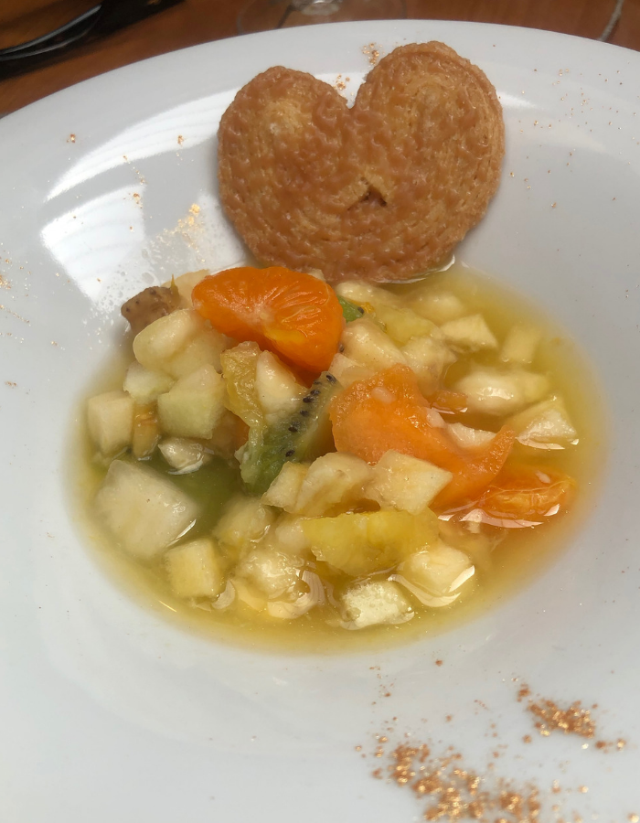 Fruit salad with cinnamon cookie - Canal du Midi Luxury Barge Cruise