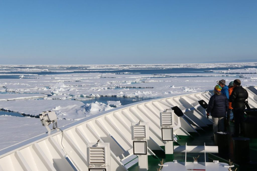 Moving through the ice on an Arctic cruise with Oceanwide Expeditions.