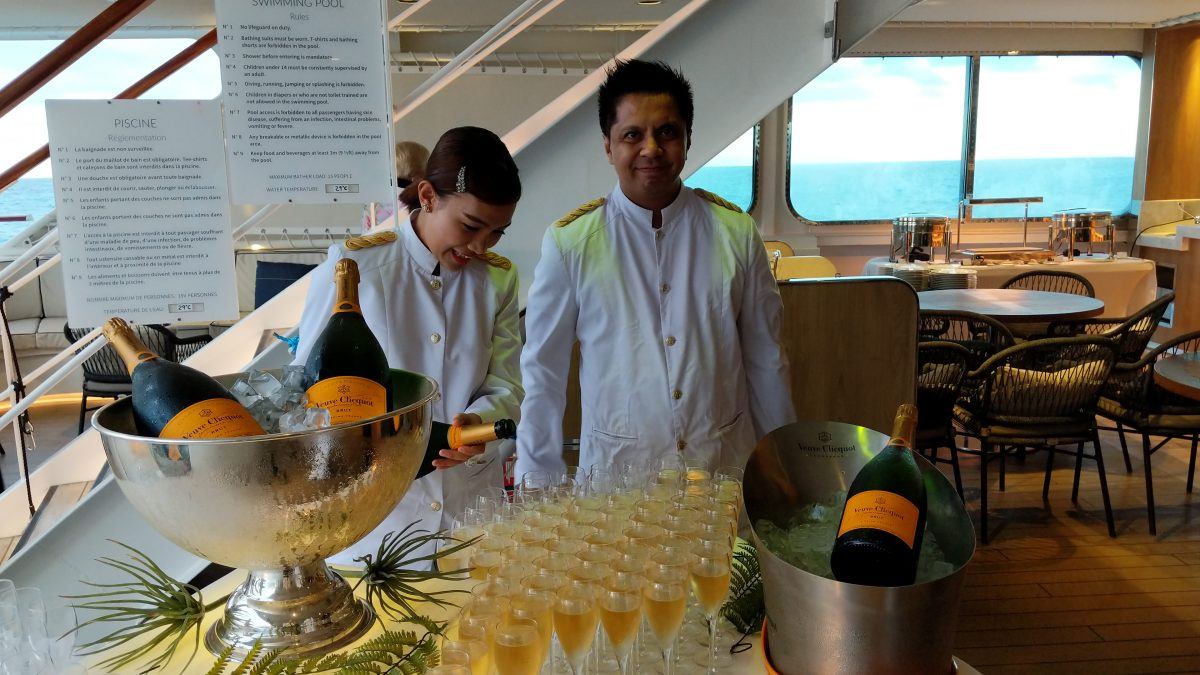 champagne on deck of a New Zealand Cruise