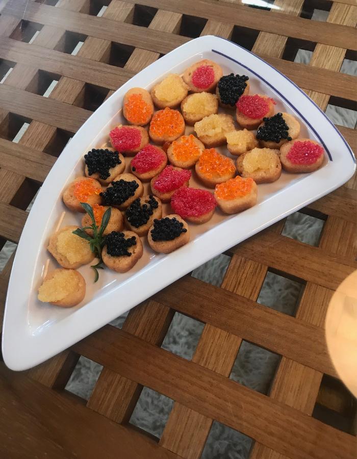 Rainbow Caviar Canape - Canal du Midi Luxury Barge Cruise