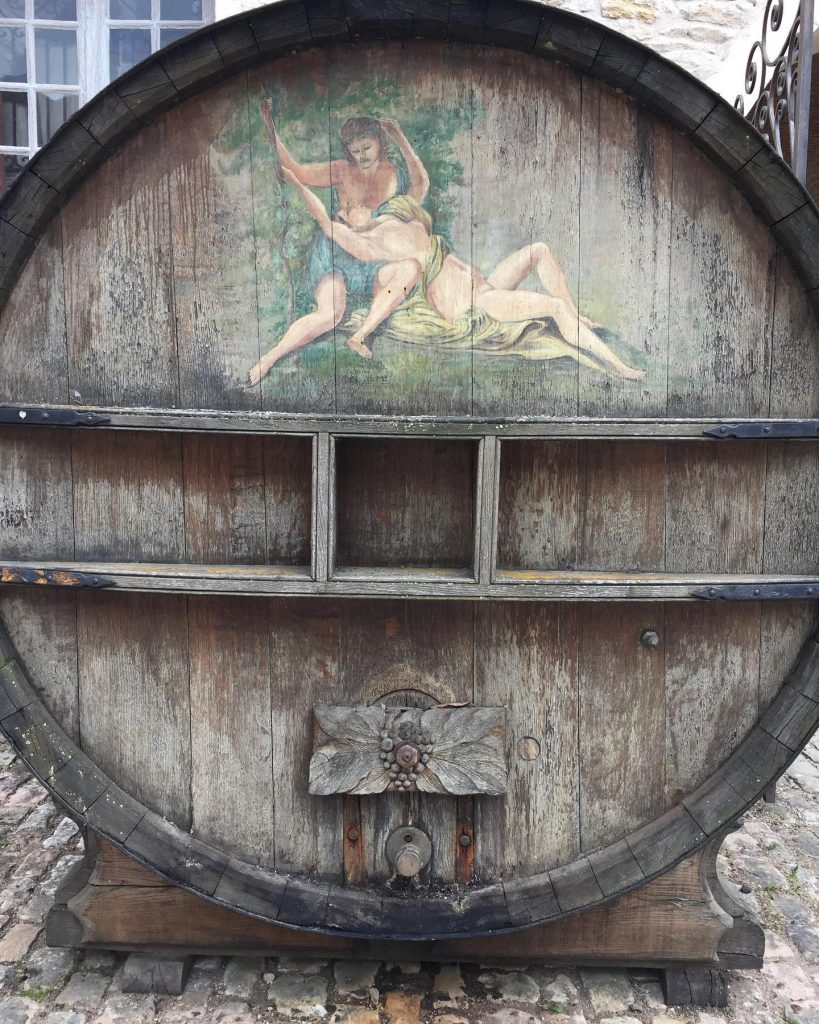 Chateau de Pommard wine barrel in France