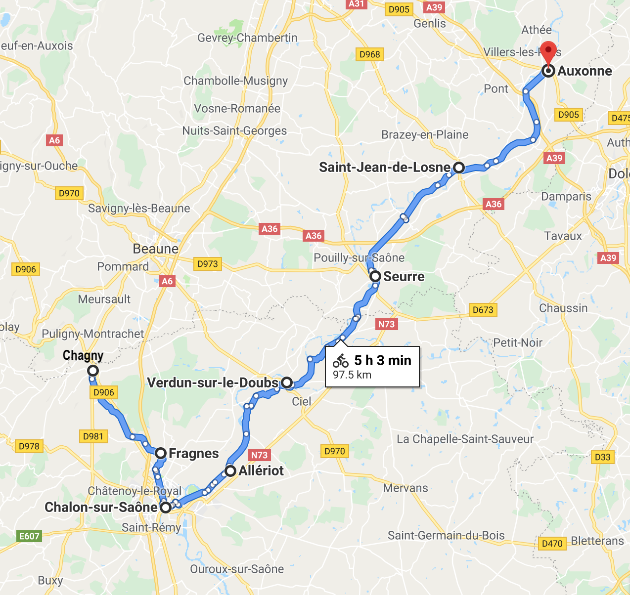 Chagny to Auxonne map