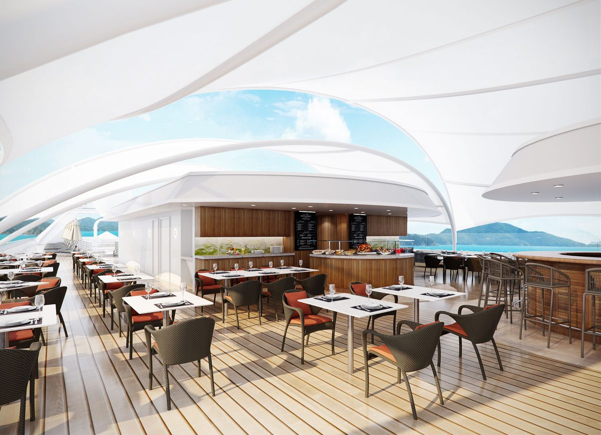 rendering of new spaces on Windstar's stretched ship