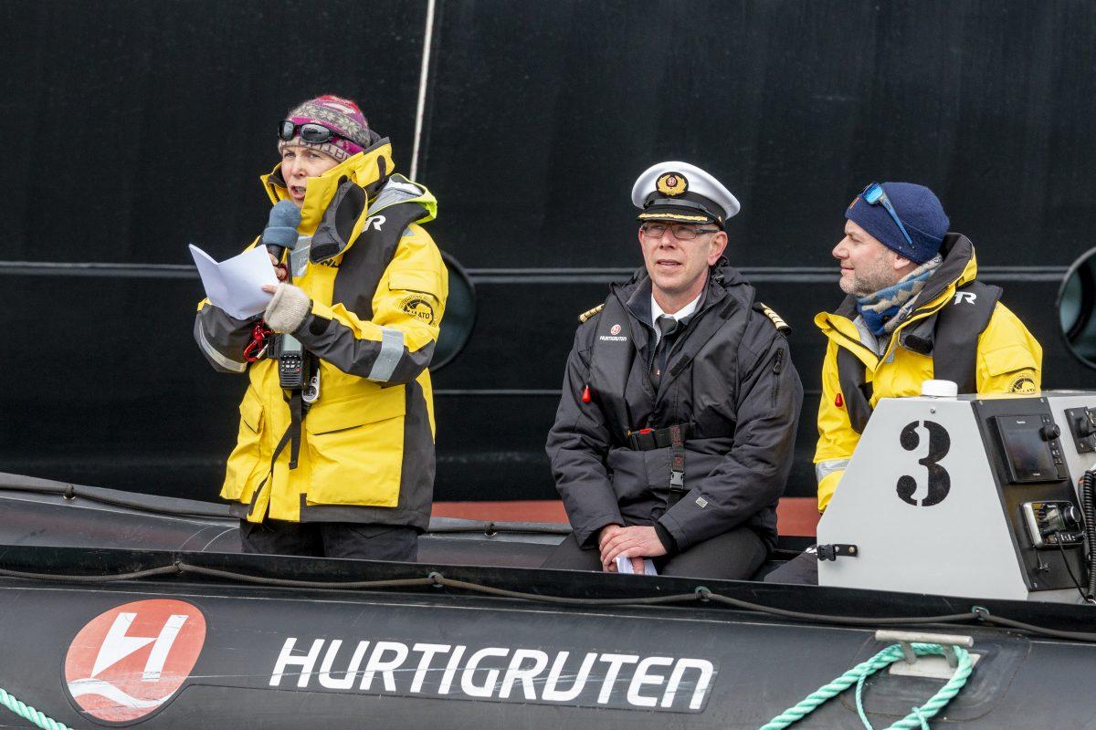 Karin Strand aboard the Hurtigruten's Roald Amundsen