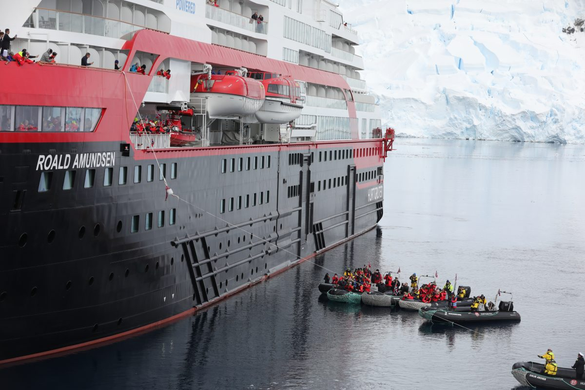 Hurtigruten's Roald Amundsen is christened with a chunk of ice