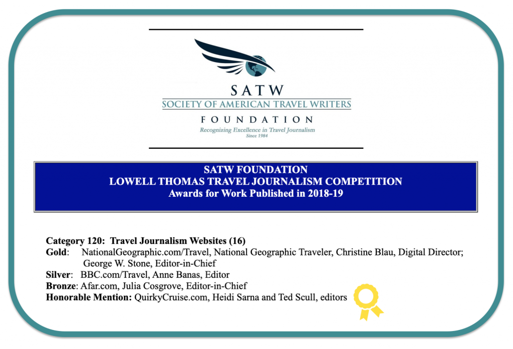 SATW Lowell Thomas Travel Journalism Award