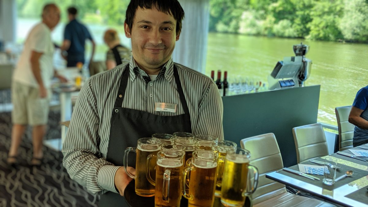 beer mugs on a Europe river cruise