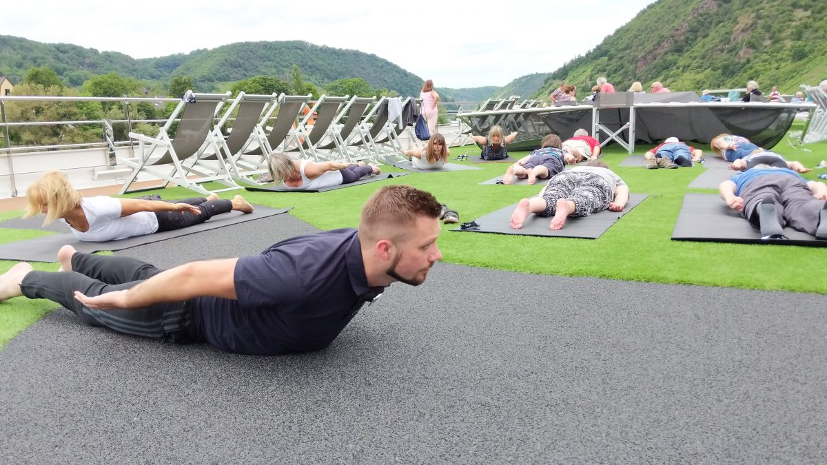 exercising on board a European river cruise