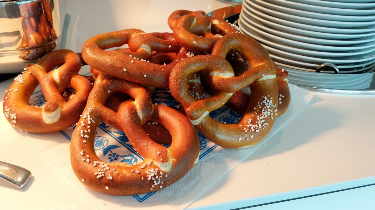 pretzels on a river cruise in Europe