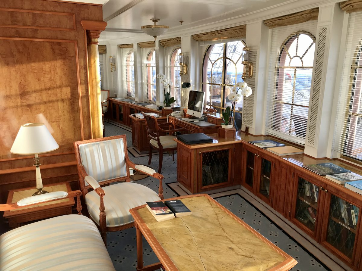 Sea Cloud II library with views of Canary Islands