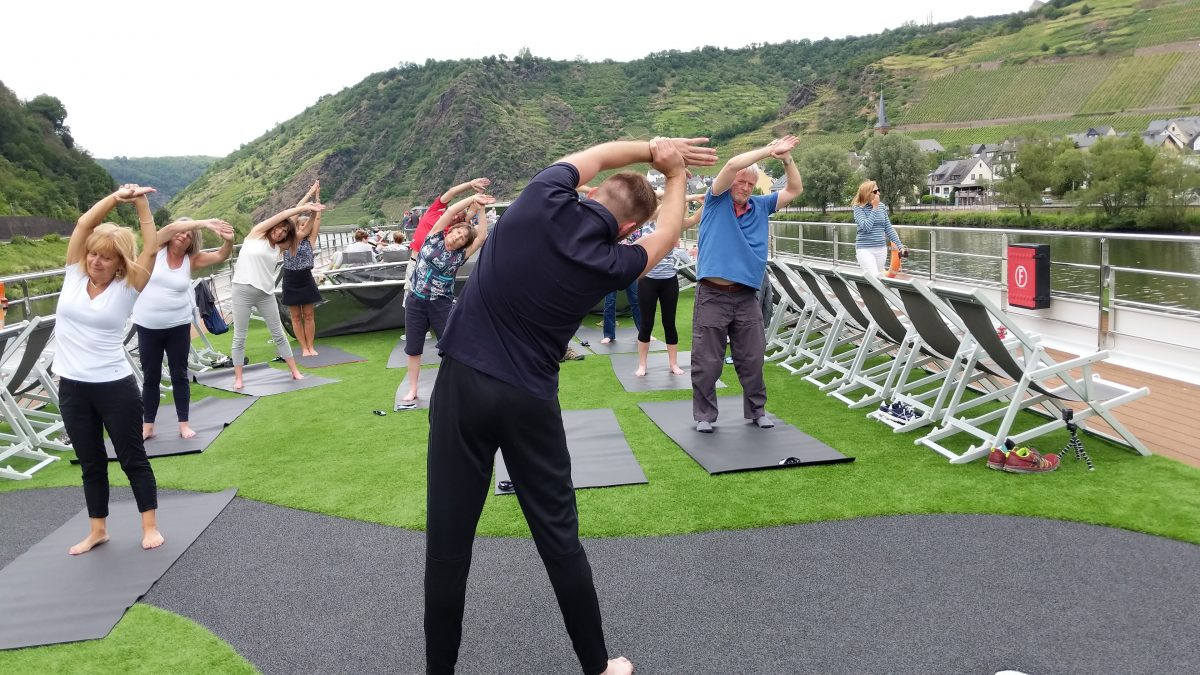 Pilates on the Sun Deck of the Emerald Destiny