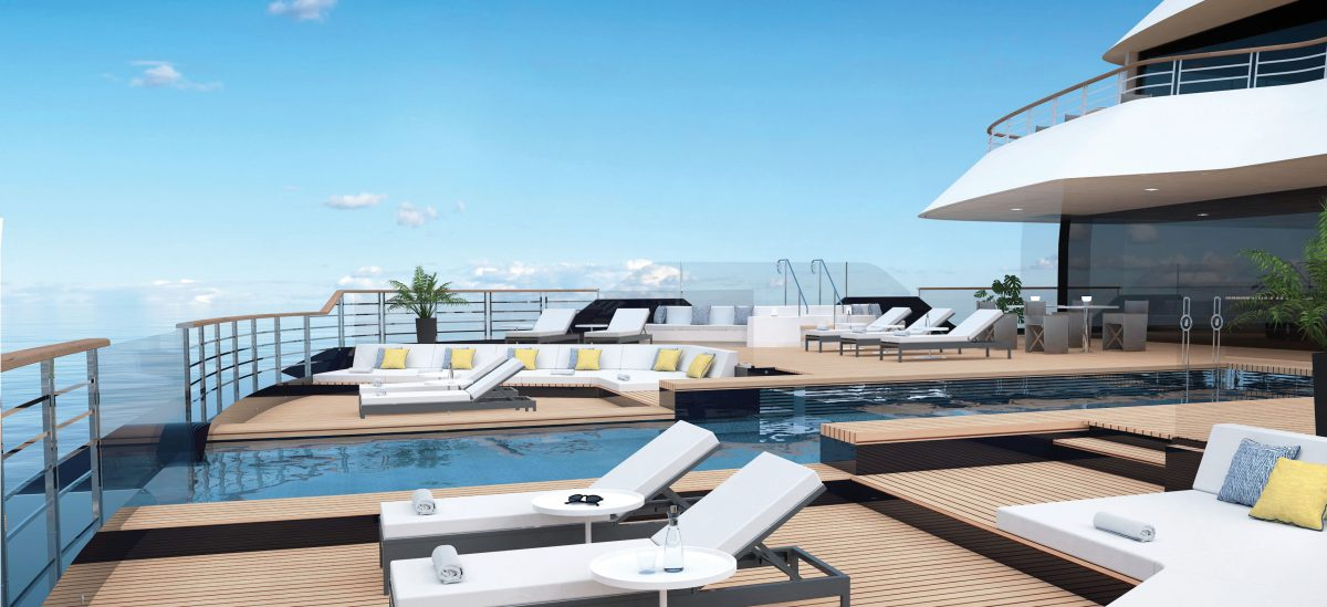 Pool deck on Evirma, one of the new ships for 2020