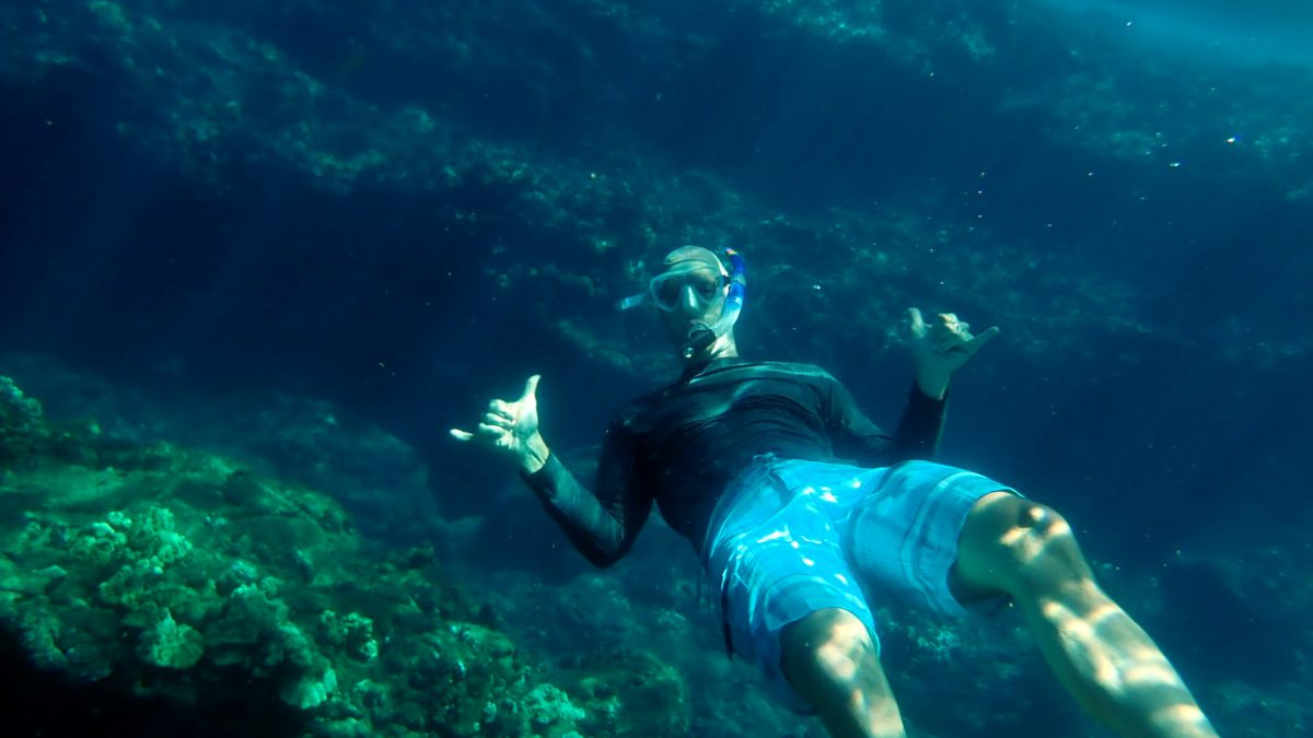 John snorkeling in Hawaii