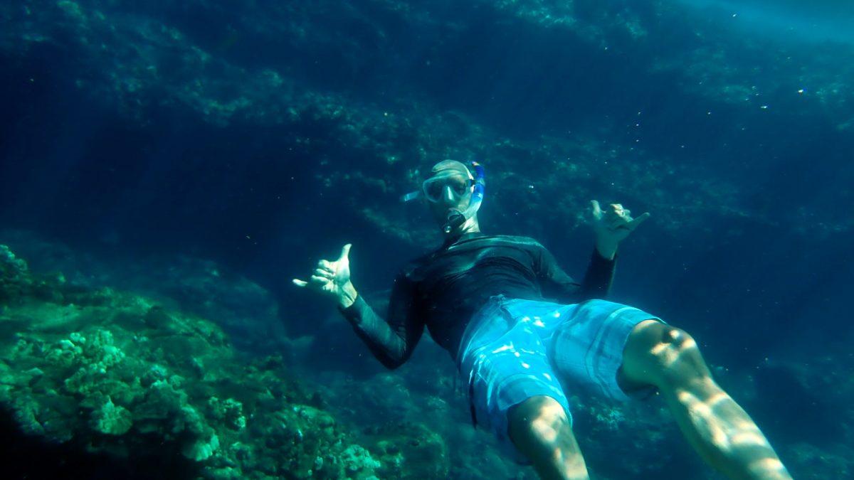 John snorkeling in Hawaii