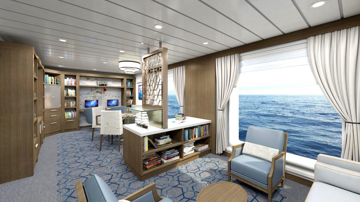 Library aboard Ocean Victory in Alaska