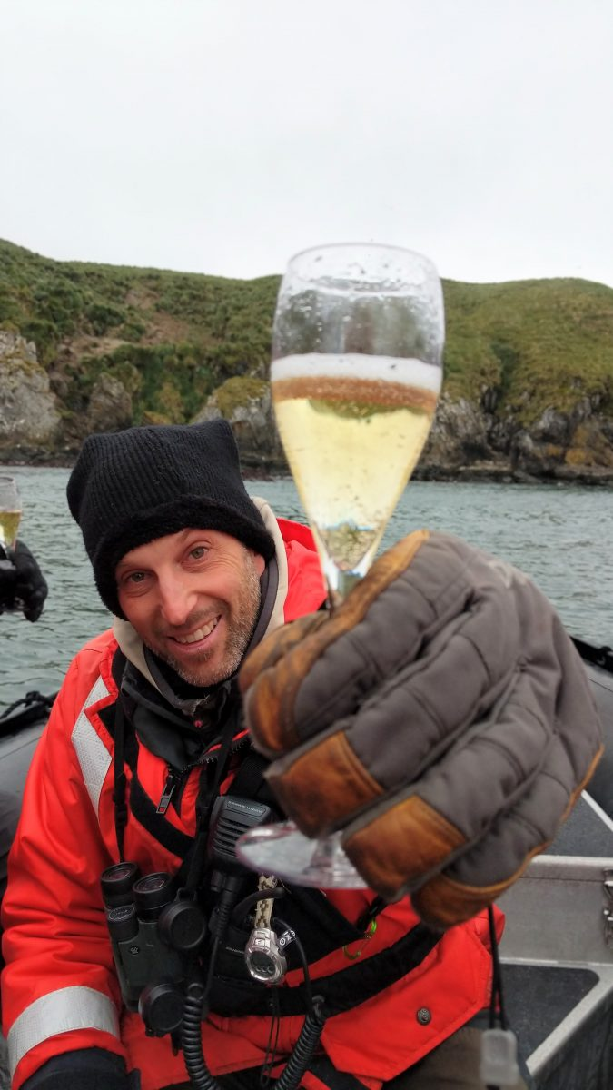 Antarctica expedition cruise champagne