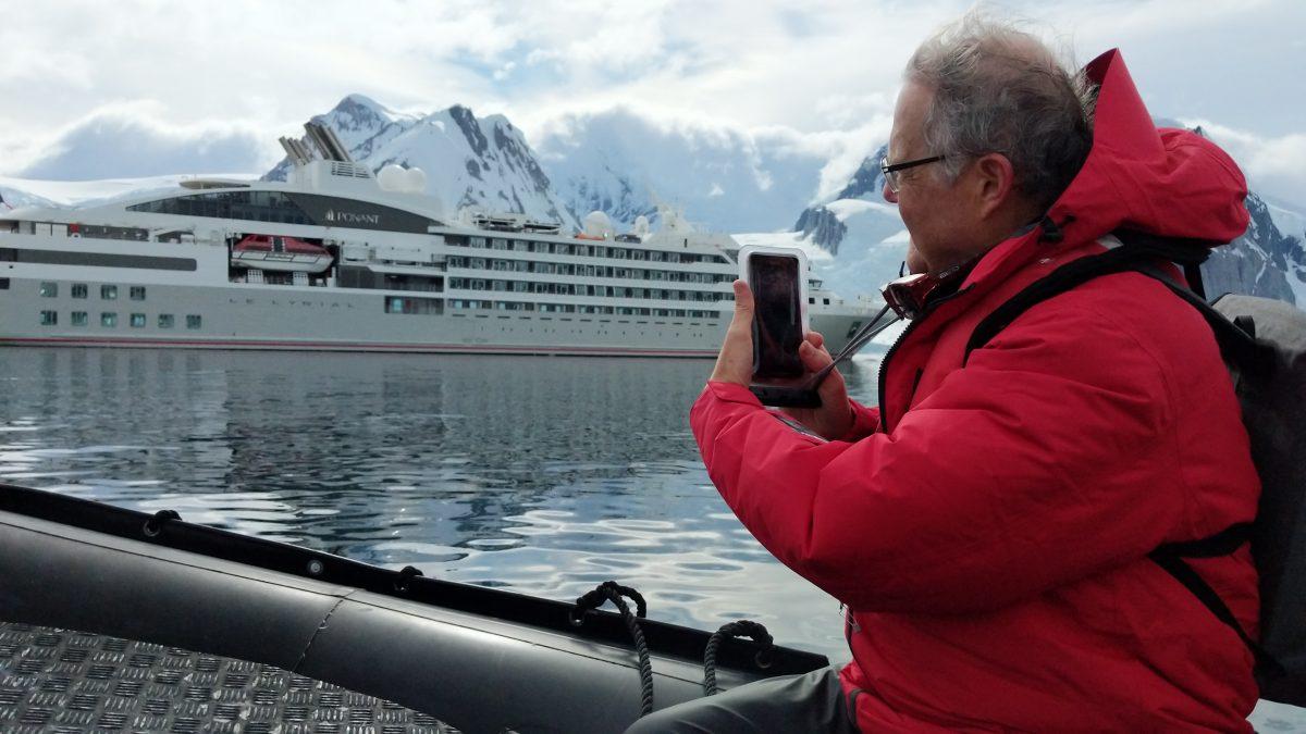 Antarctica cruising zodiac