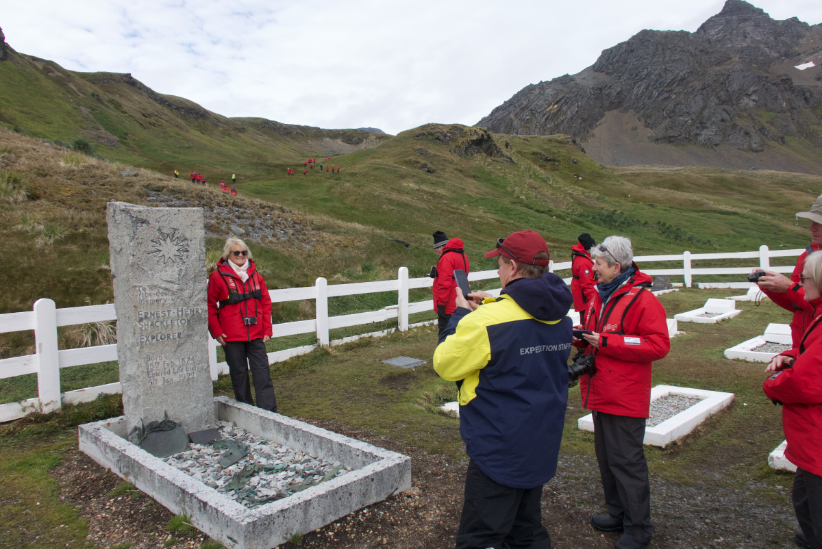 Shackleton grave on an Antarctica cruise
