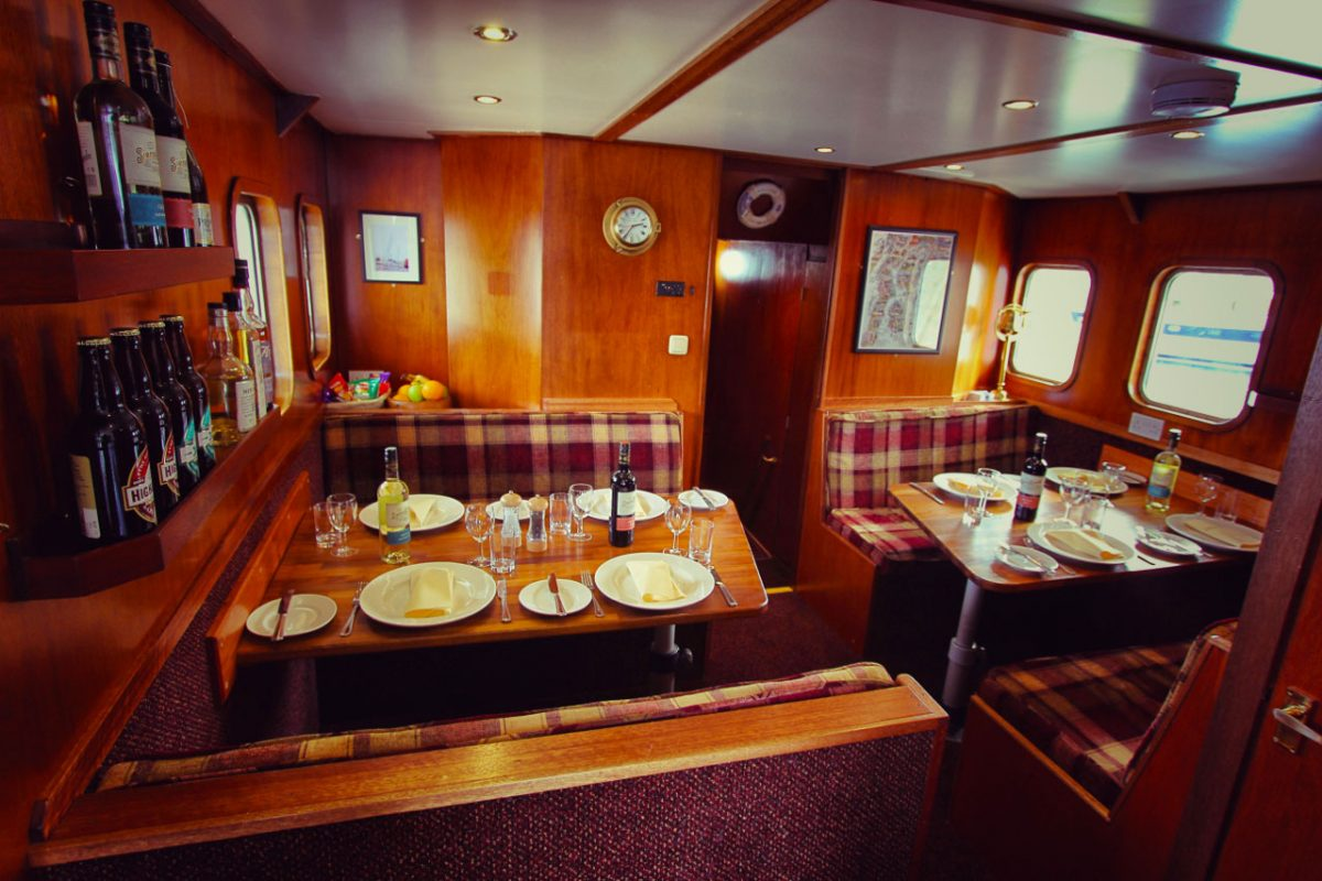 dining aboard the Splendour in Scotland