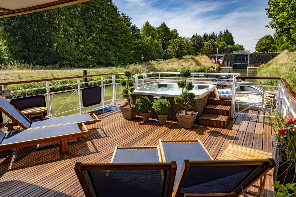 sundeck on a European Waterways barge